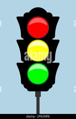 Traffic light - vector icon. Flat style. Vector illustration - Stock Photo