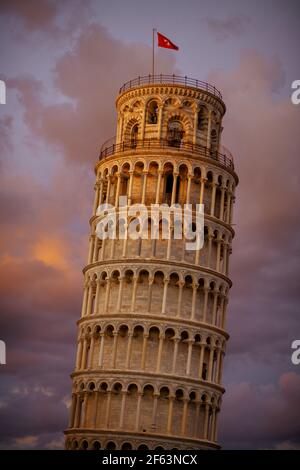 with Leaning Tower in Pisa, Italy. Stock Photo