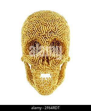 Golden Carved Skull On White Background