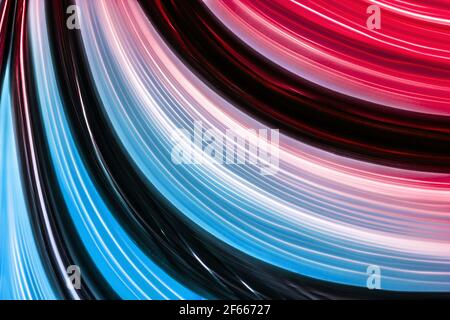 Bright futuristic abstract summer background with beautiful glowing neon colorful lines with gradient from yellow to blue.