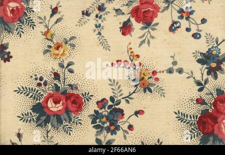 Used vintage old fashioned canvas wallpaper with roses and other floral ornaments - nice in detail