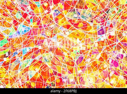 abstract background of mixed lines, signs, and colors. Modern art illustration