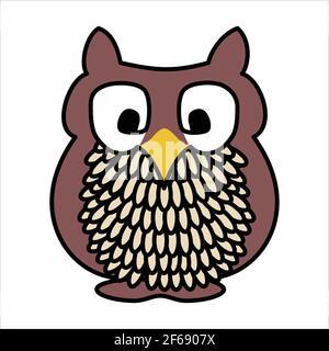 Cute cartoon owl with big eyes