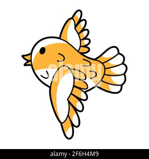 Illustration of cute little flying bird. Cartoon icon.