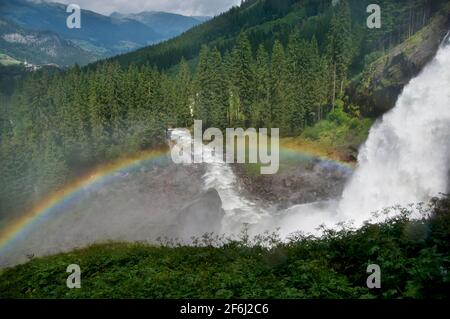 Morning Rainbow At  Krimml Falls In The High Tauern National Park in Salzburg Austria