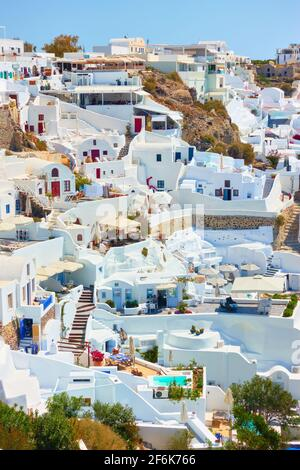 Houses in Oia town in Santorini island, Greece