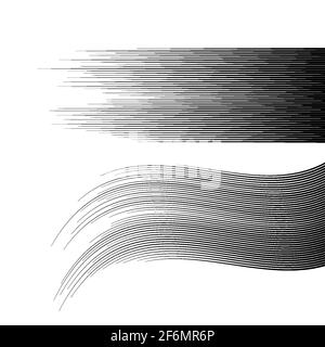 Horizontal comic speed lines effect. Motion effect. Vector illustration isolated on white. - Stock Photo