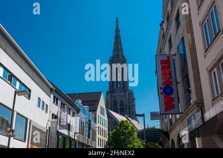 ULM, GERMANY, 7 AUGUST 2020: ulm minster from the street in the center