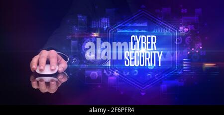 hand holding wireless peripheral, cyber security concept