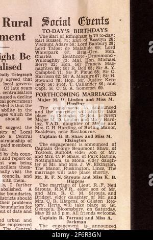Social Events column including birthdays and forthcoming marriages in the Daily Telegraph (replica), 18th May '43, the day after the Dam Busters raid.