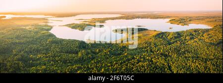 Braslaw District, Vitebsk Voblast, Belarus. Aerial View Of Lakes, Green Forest Landscape. Top View Of Beautiful European Nature From High Attitude. - Stock Photo