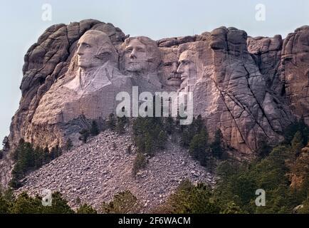 Presidents sculptures at Mount Rushmore National Memorial, South Dakota, USA.