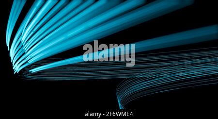 Abstract futuristic background, vanishing point or hyperspace, science fiction velocity concept, bright lines, light streaks 3D illustration