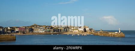 St Ives Cornwall harbour popular travel destination in UK panoramic view