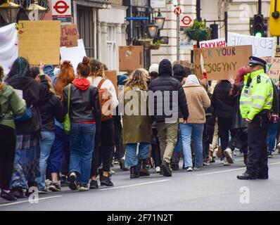 London, United Kingdom. 3rd April 2021. Protesters march down Whitehall towards Parliament Square. Hundreds of demonstrators gathered in Central London for The 97% March to protest against harassment of women.