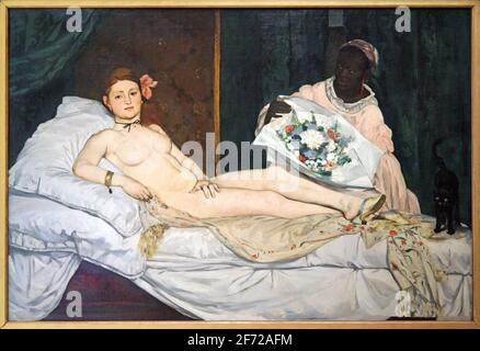 Olympia 1863 Édouard Manet 1832-1883.( first exhibited at the 1865 Paris Salon, 'Olympia' lying on a bed being brought flowers by a servant.Modelled by Victorine Meurent and the servant by the art model Laure.)