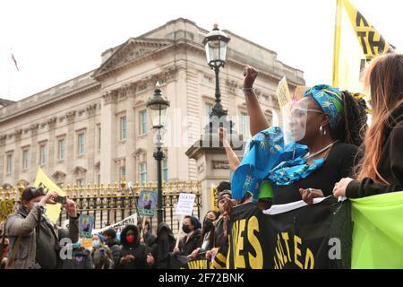 Kill the Bill Protest passing Buckingham Palace, London, UK, 3rd April 2021