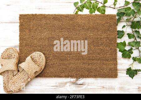 Doormat mock up. Floral template mockup with house shoes