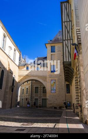 Angers, France - August 23, 2019: A Rue du Musee street in downtown of Angers in Maine et Loire department, France