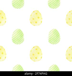 Easter seamless pattern with decorated yellow and green eggs. Watercolor hand-drawn illustration in pastel colors. Perfect for wrapping paper, fabric