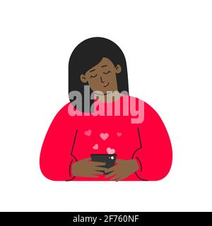 Vector isolated flat concept. Cartoon african american woman writes message on phone using mobile app for online dating. She is young adult