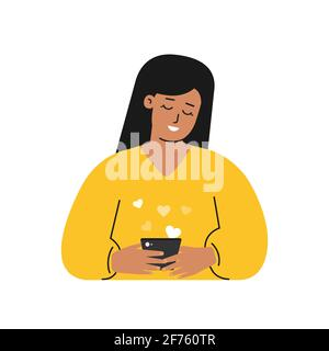 Vector isolated flat concept. Cartoon latin woman writes message on phone using mobile app for online dating. She is young adult and seaching partner.