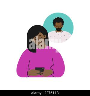 Vector isolated flat concept. Cartoon happy african american woman sends message on phone to his boyfriend. Online dating by apps in gadget. Relations