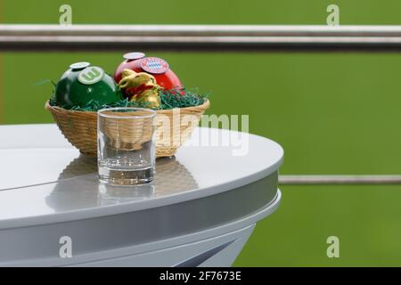 Easter basket before the Frauen DFB-Pokal semi-final match between VfL Wolfsburg and FC Bayern Munich at AOK-Stadion, Germany. - Stock Photo