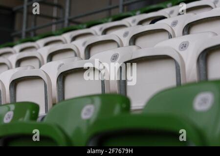 Empty seats during the Frauen DFB-Pokal semi-final match between VfL Wolfsburg and FC Bayern Munich at AOK-Stadion, Germany. - Stock Photo