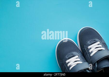kid's athletic shoes isolated on white background.Copy space - Stock Photo