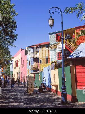 Brightly coloured buildings, Caminito Street, La Boca, Buenos Aires, Argentina