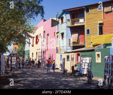 Pastel-coloured buildings, Caminito Street, La Boca, Buenos Aires, Argentina