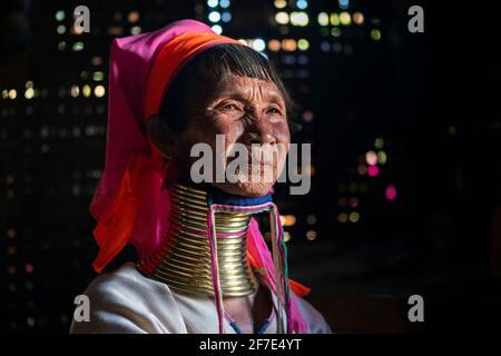 Senior Kayan woman wearing traditional neck rings, Loikaw, Myanmar