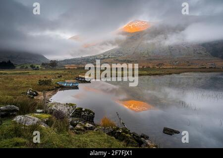Macgillycuddy's Reeks mountains reflected in Lough Gummeenduff, evening sunlight, Black Valley, Killarney, County Kerry, Munster, Republic of Ireland