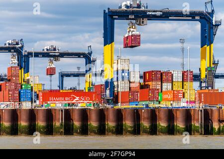 Global Britain UK Trade, UK Container Trade - UK Container Port - Shipping containers being stored at Felixstowe Port, the UK's largest container port