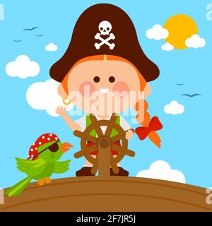 Pirate girl captain sailing on a ship with a steering wheel.