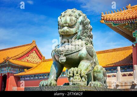 Bronze lion guardian, Forbidden City, Beijing, China