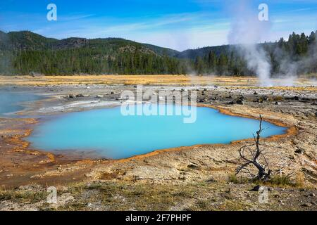 Black Sand Basin. Black Opal Pool In the Yellowstone National Park. Wyoming. USA.