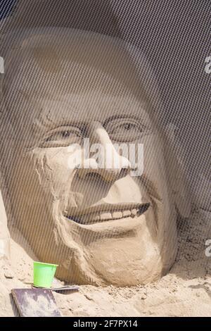 FILE PHOTO Sand sculpture of Prince Philip, HRH the Duke of Edinburgh, on the beach at Weymouth, Dorset, UK in May - photo taken 1/5/16.   Prince Philip, Duke of Edinburgh, died 9th April 2021 aged 99.  Credit: Carolyn Jenkins/Alamy Live News