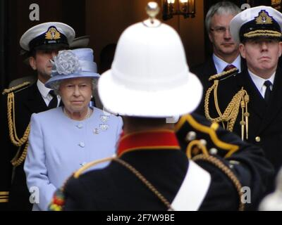 The Queen formally presenting the Duke of Edinburgh with the title and office of Lord High Admiral of the Navy in Whitehall, to mark his 90th anniversary. London, UK