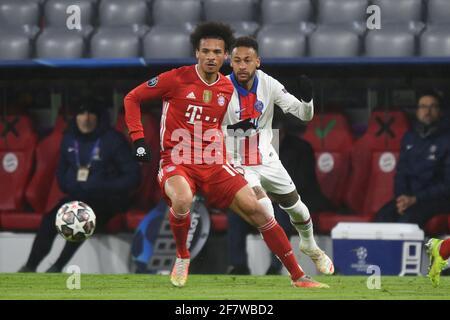 Leroy SANE (FC Bayern Munich), action, duels versus NEYMAR (PSG). FC Bayern Munich-Paris Saint Germain (PSG) 2-3, Soccer Champions League quarter-finals on April 7th, 2021, ALLIANZAREN A. DFL REGULATIONS PROHIBIT ANY USE OF PHOTOGRAPHS AS IMAGE SEQUENCES AND/OR QUASI-VIDEO. Photo: Jens Niering/Pool via SVEN SIMON Fotoagentur GmbH & Co. Press photo KG # Prinzess-Luise-Str. 41 # 45479 M uelheim/R uhr # Tel. 0208/9413250 # Fax. 0208/9413260 # GLS Bank # BLZ 430 609 67 # Account 4030 025 100 # IBAN DE75 4306 0967 4030 0251 00 # BIC GENODEM1GLS # www.svensimon.net.   usage worldwide
