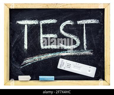 Corona rapid test and school chalkboard
