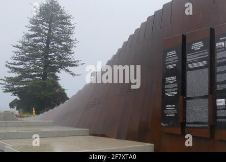Wellington. 10th Apr, 2021. Photo taken on April 10, 2021 shows the SS Ventnor Memorial in Far North, New Zealand. A dedication ceremony was held on Saturday in Far North, New Zealand, for SS Ventnor Memorial to commemorate the unique bond between Chinese and Maori since the steamer sank.TO GO WITH 'Feature: Dedication ceremony honours unique Chinese-Maori bond' Credit: Ding Hao/Xinhua/Alamy Live News