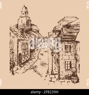 Sketch of an old street with a brick road and lanterns.  Detailed freehand drawing of houses, outline separated from the background. - Stock Photo