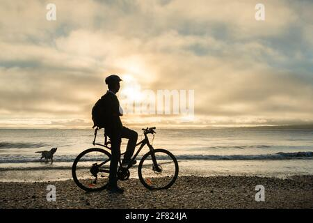 Silhouette image of a cyclist on the bicycle watching the sunrise and dog playing in the water at Milford beach, Auckland