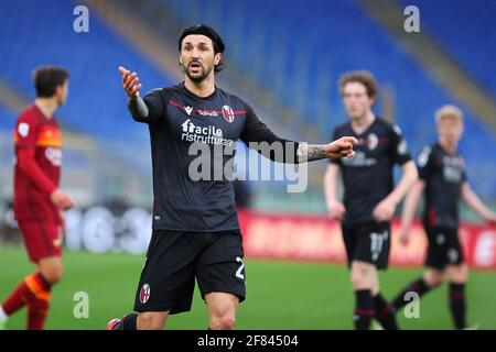 Rome, Italy. 11th Apr, 2021. Roberto Soriano of Bologna reacts during the Italian championship Serie A football match between AS Roma and Bologna FC on April 11, 2021 at Stadio Olimpico in Rome, Italy - Photo Federico Proietti/DPPI Credit: DPPI Media/Alamy Live News - Stock Photo