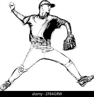 baseball player illustration - Stock Photo