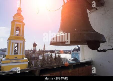 Bells in the temple of the Russian Orthodox Church. Bell tower of a Christian church. High quality photo