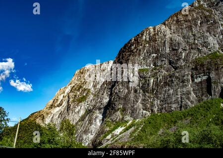 Massive rock mountain of Stalheim in Norway during sunny day