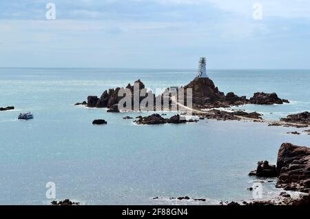 Jersey, La Corbiere lighthouse with causeway - accessible only by low tide